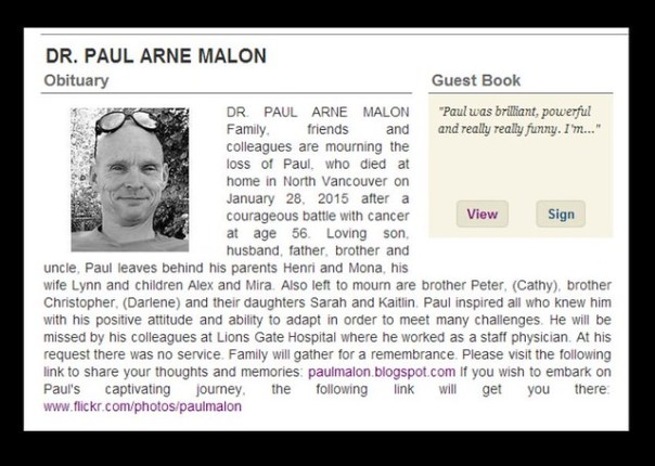 Dr. Paul Arne Malon obituary