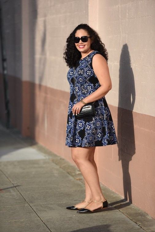 Print Dress and Gold Accents