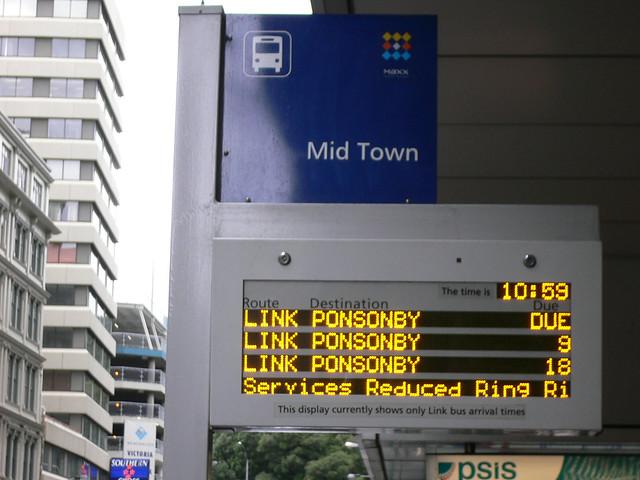 Bus stop in Auckland