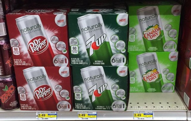 Naturally Sweetened Dr Pepper, 7UP, and Canada Dry