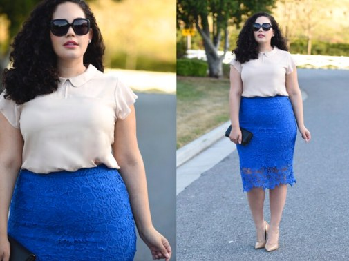 (plus size) Lace Pencil Skirt