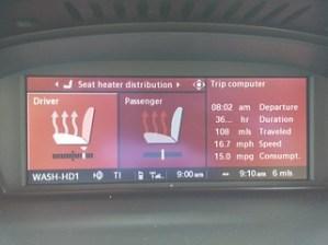 BMW iDrive heated seats distribution interface