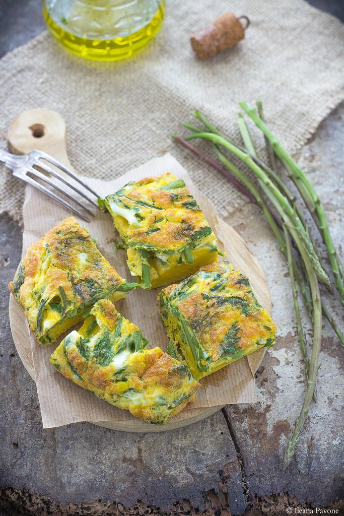 Frittata al forno con asparagi selvatici e ortica