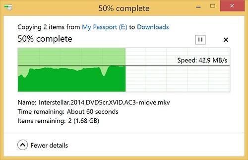 ความเร็วในการรับส่งข้อมูลเวลาเสียบสาย USB 3.0