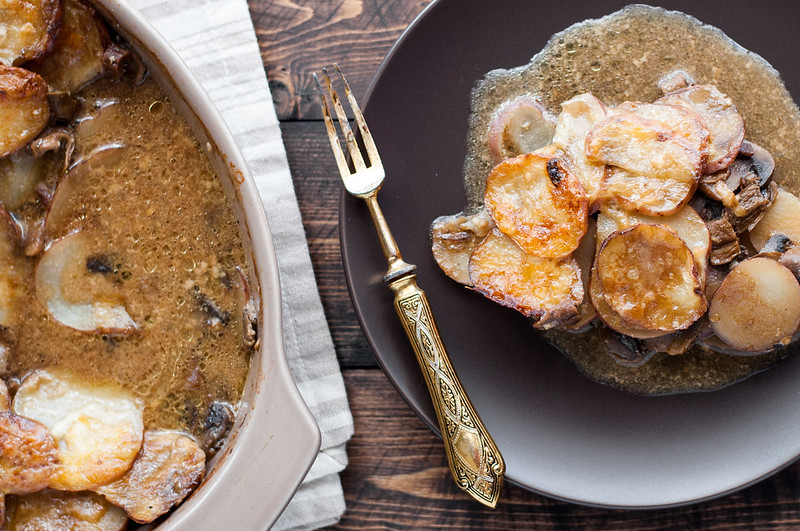 Rich, hearty mushroom potato gratin