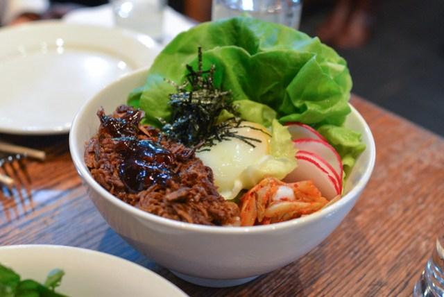 o.g. momofuku ssam pork shoulder, black beans, kimchi, poached egg