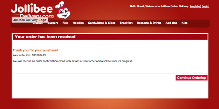 Jollibe Online delivery