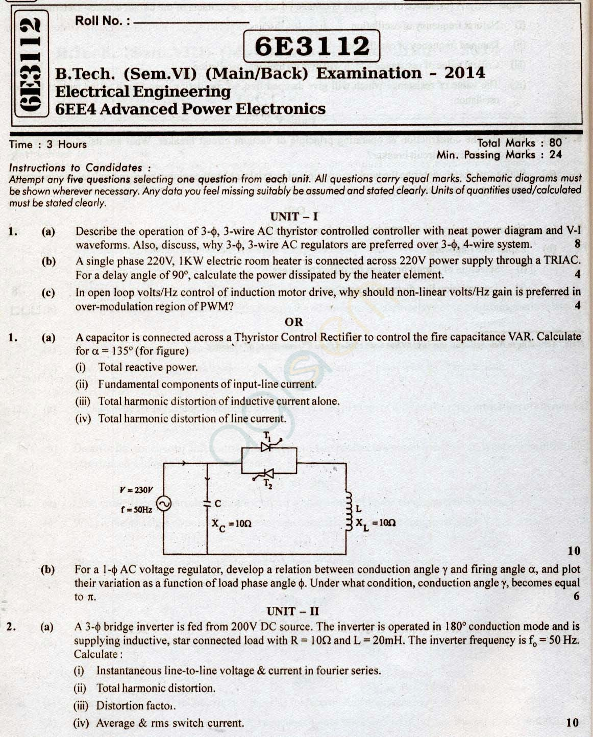 RTU: Question Papers 2014 - 6 Semester - EE - 6E3112
