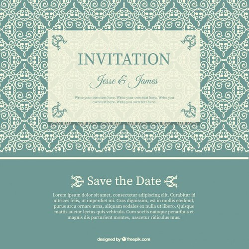 Wedding Invitation with Floral Pattern Free Vector