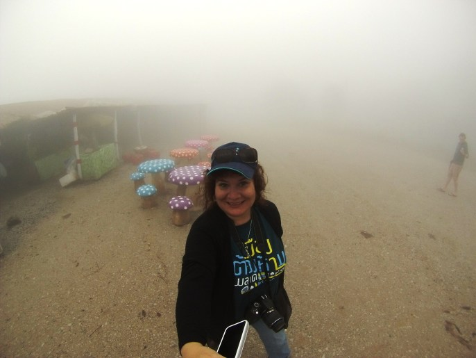 Selfie at Phu Rea National Park in the Fog, Thailand, March 2015.