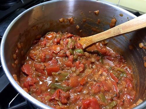 simmering enchilada sauce