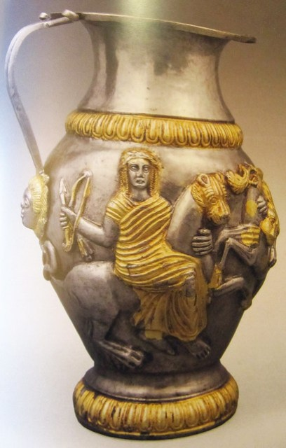 Jug, Silver-gilt found at Rogozen 1985-6, late 4thc BC. Vratsa Regional History Museum. The style indicates local craftsmanship.