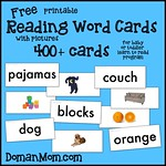 Free Printable Reading Word Cards (for baby or toddler learn to read program)