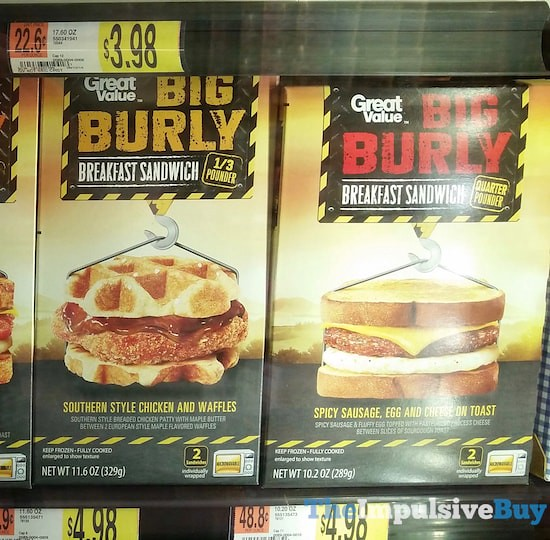 Great Value Big Burly Breakfast Sandwiches (Southern Style Chicken and Waffles and Spicy Sausage, Egg and Cheese on Toast)