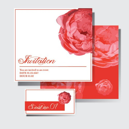 Red Wedding Invitation Free Vector