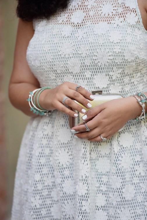 Net Midi Dress & Metallic Accessories