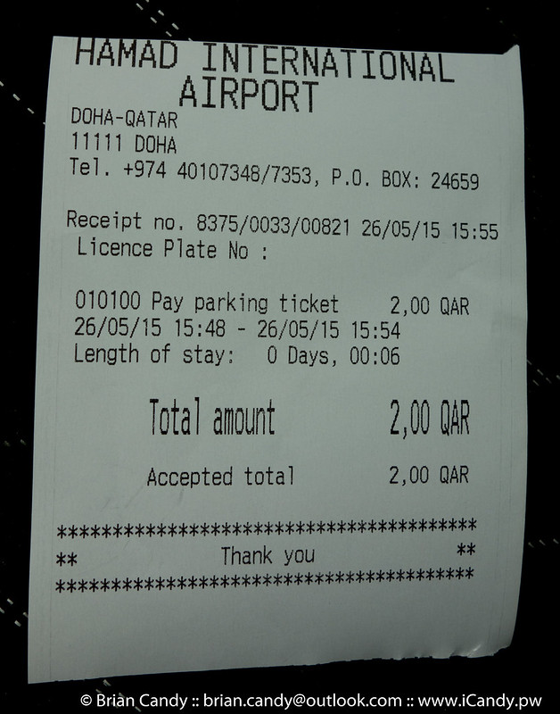HIA Long Stay Car Park Reciept