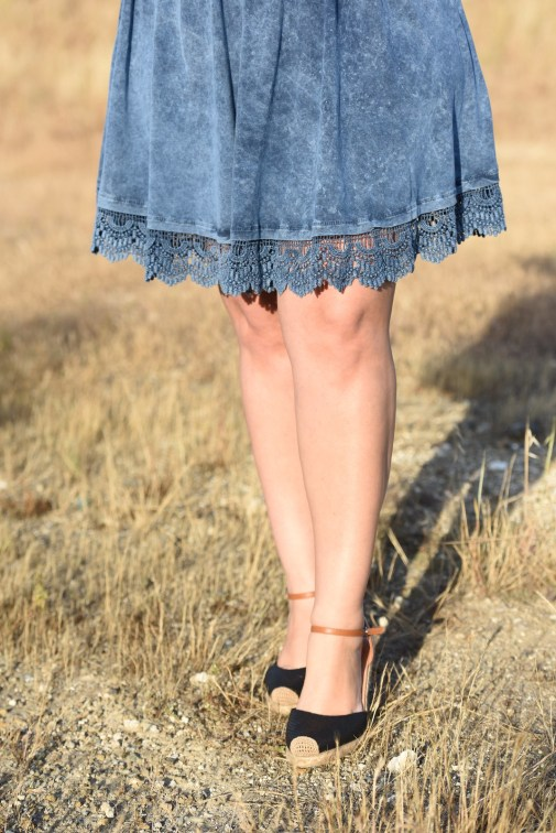 Acid Wash Dress with Lace Hem and Espadrille Wedges