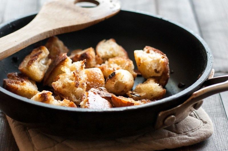 Fried bread for hearty vegan Spanish potatoes