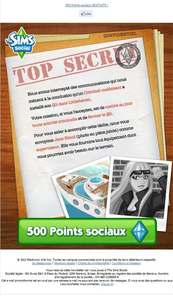Newsletter The Sims Social