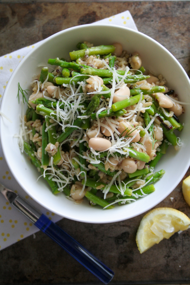 spring asparagus, white bean, and wild rice salad