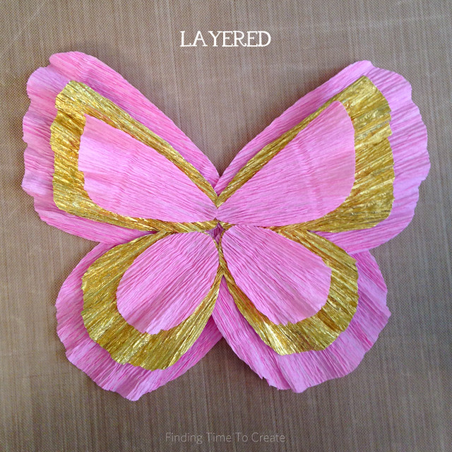 Hot glue butterfly crepe paper layers - layered