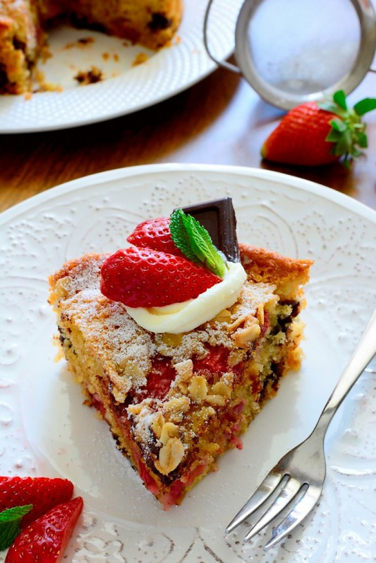 Delicious and very moist Strawberry and Dark Chocolate Cake