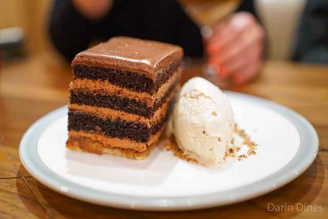 Chocolate Peanut Butter Crunch Cake with Valrhona Dulcey Chocolate Ice Cream