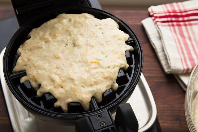 waffle batter on iron