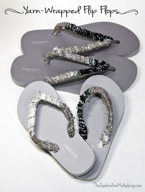 Easy Yarn-Wrapped Flip Flops