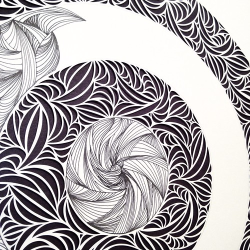 WIP - paper cut and drawing on paper