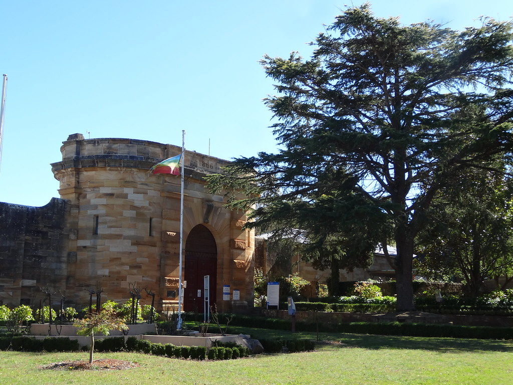 Berrima village in the Southern Highlands surveyed 1831. Teh sandstone pirson was built in 1839. The rounded sandstone entrance was added in 1866.