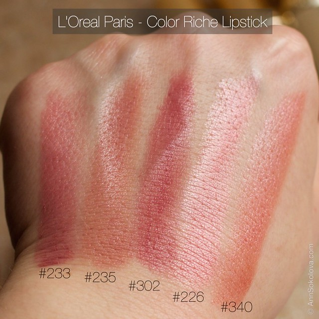 05 L'Oreal Paris Color Riche Lipstick 30 years new shades 233, 235, 302, 226, 340 swatches