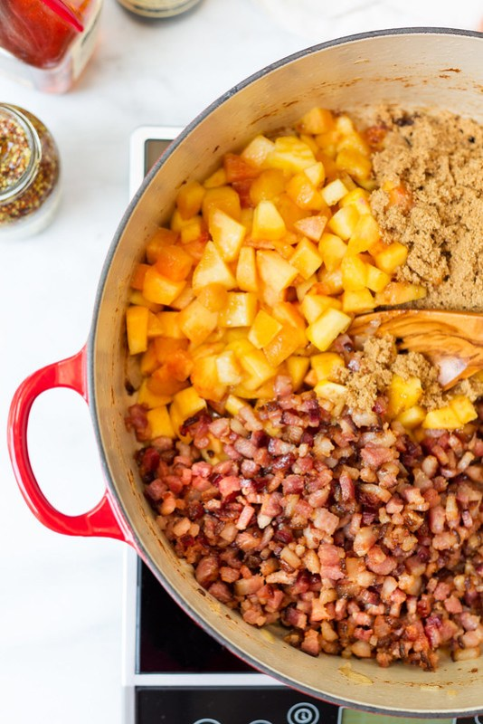 ingredients for bacon peach jam