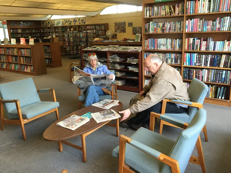 Lake Shore branch of the Hamburg Public Library, where out-of-towners can browse the periodicals