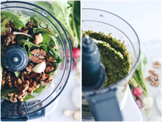 Radish leaf walnut pesto in food processor