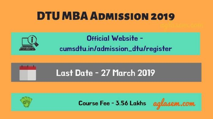 DTU MBA Admission 2019