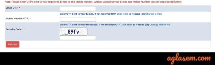RRC groupD Registration OTP 2019