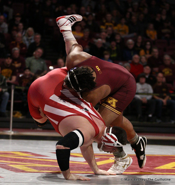 Hwt: #1 Gable Steveson (Minnesota) tech fall Fletcher Miller (Indiana) 20-5. 190217AMK0162