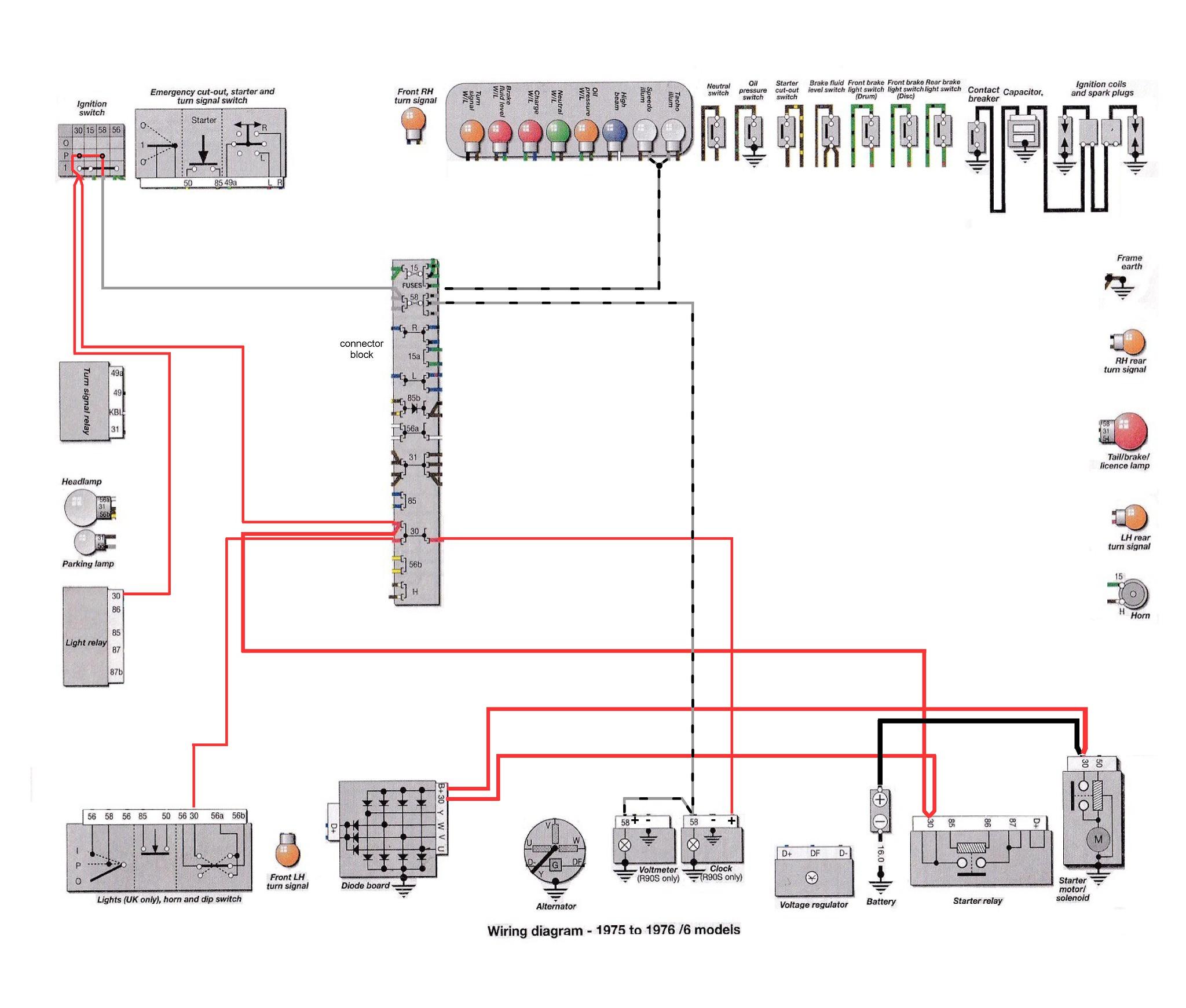 6 series, 1975 76 circuits brook\u0027s airhead garage6 series 1975 76 grey black instruments, clock, volt meter bulbs