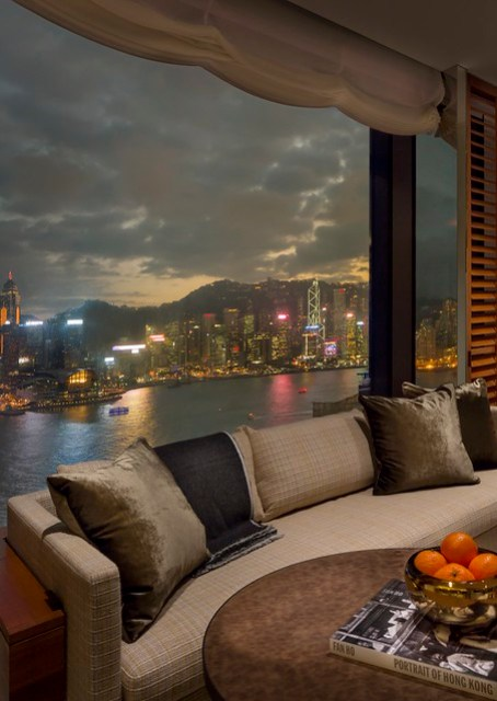 RWHKG_Harbour Corner Suite Living Room (Night View from Bedroom)
