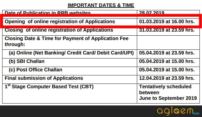 RRB NTPC Application Form 2019 Date and Time