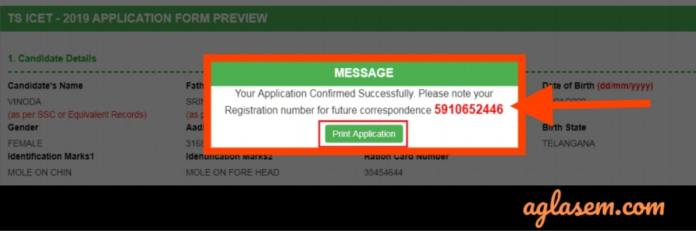 TS ICET 2019 Application Form Confirmation and Number