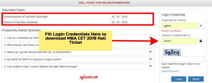 MBA CET 2019 ADMIT card download login