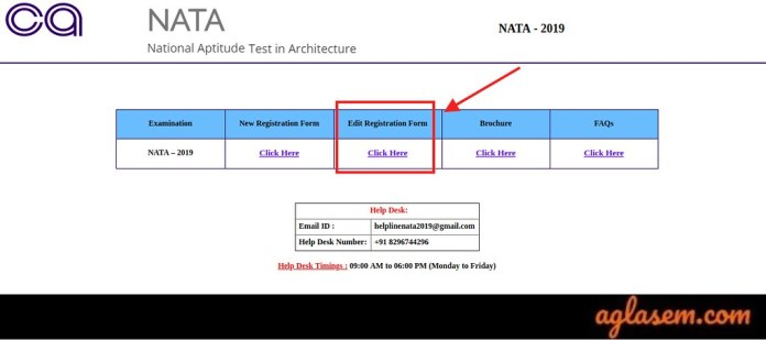 NATA 2019 Form Correction Window