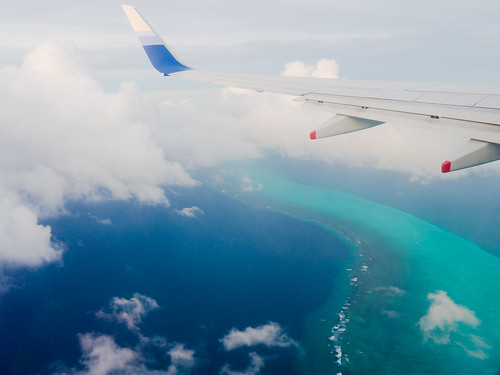 Flying over the Pacific Ocean close to Palau