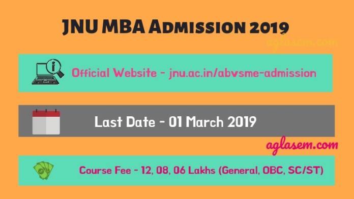 JNU MBA Admission 2019