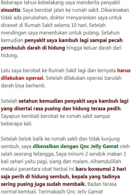Kesaksian dari QnC Jelly Gamat atasi pilek menahun