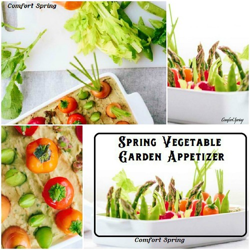 Spring Vegetable Garden Appetizer with Hummus