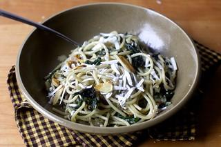 spaghetti with swiss chard and garlic chips